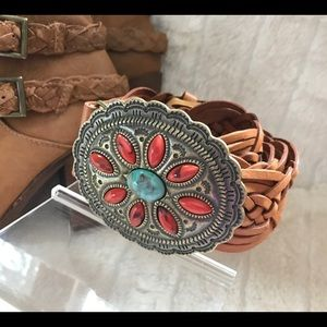 Accessories - NWOT genuine leather woven belt with stone buckle.